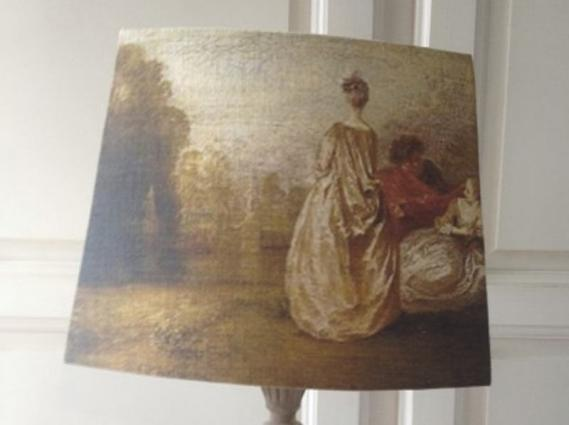 Abat jour pans coupés lin ancien peinture époque XVIIIe