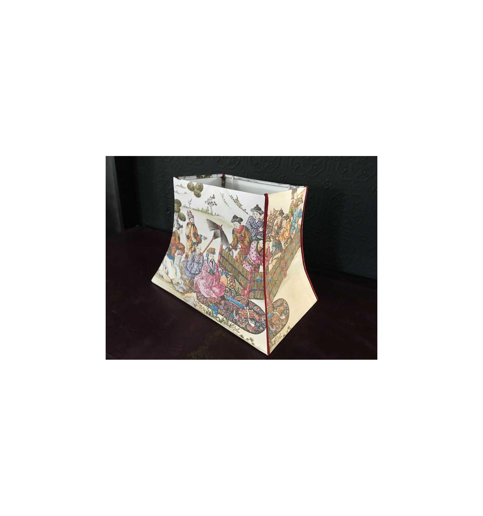 Abat jour pagode rectangulaire gravure chinoise - Belette ...