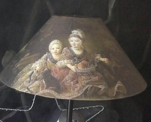 Abat jour japonisant portrait deux enfants XVIIIe