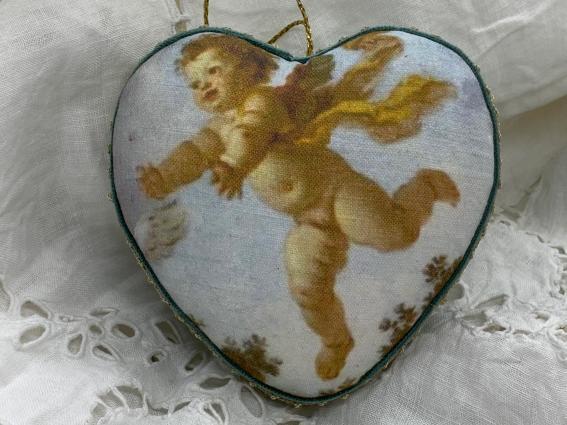 """Coeur précieux """"angelot"""" lin et velours"""