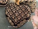 Coeur sari velours noir broderie or