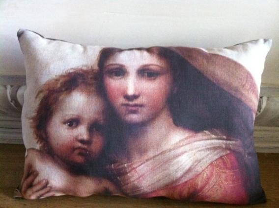 Coussin lin ancien portrait Vierge et l'enfant de Raphaël