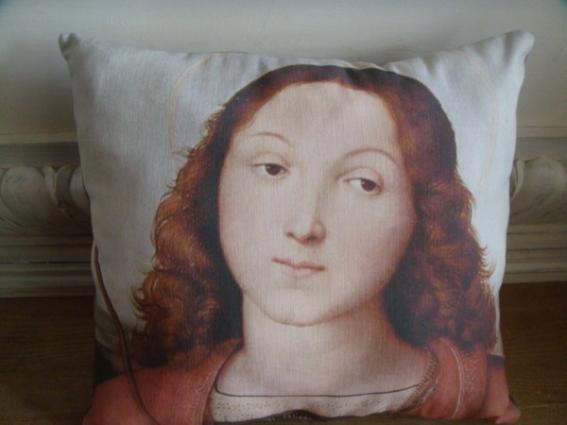 Coussin lin ancien Madone de Raphaël